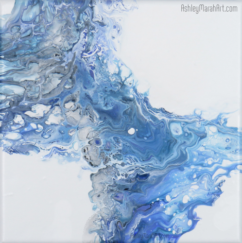 blue, art, work, acrylic, paint, pour, painting, fluid, abstract