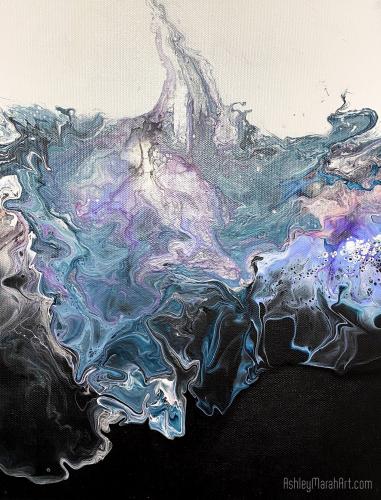 One of a Kind, Original, Art, dutch pouring, great gift, unique, pink, blue, white, purple, black, aqua, light blue