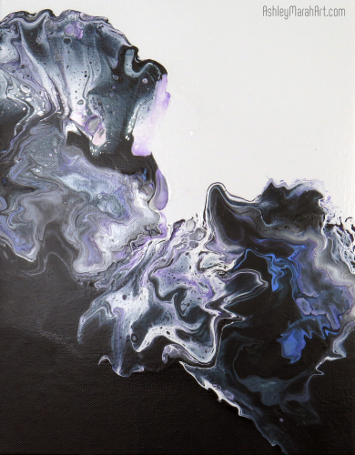 One of a Kind, Original, Art, dutch pouring, great gift, unique, blue, white. black, purple, silver
